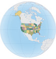 north america with usa on globe vector image vector image