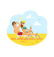 people traveling man and woman on resort beach vector image vector image