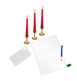Red Candles on Blank Page and Envelope vector image vector image