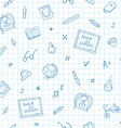 School doodle pattern on a notebook paper vector image vector image