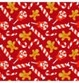 Seamless pattern with cute cartoon Christmas candy vector image vector image