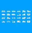 truck icon blue set vector image