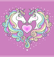 two beautiful white unicorns and a pink heart vector image