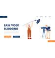 video blogging website landing page male staff vector image