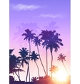Violet sunrise palms silhouettes poster background vector image vector image