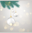 white christmas balls hanging on new year tree vector image