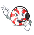 with headphone peppermint candy mascot cartoon vector image