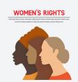 women rights concept three female profile vector image vector image