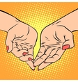 Womens hand heart shape love romance Valentines vector image vector image