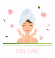 young woman in towel with clean fresh skin touch vector image vector image