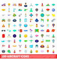 100 aircraft icons set cartoon style vector image vector image