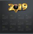 2019 calendar template libya country map golden vector image vector image