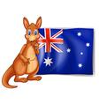 A kangaroo beside an Australian flag vector image vector image