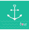 Anchor with shapes of heart and dash line waves Lo vector image