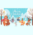 animals celebrating christmas xmas cute card vector image