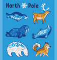 arctic animals set in cartoon style vector image