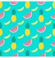 background with watermelons bananas pineapples vector image vector image