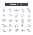 birds line icons signs set outline vector image vector image