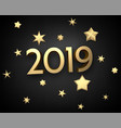 black 2019 new year 3d background with gold stars vector image