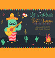 bright poster for festa junina with happy cactus vector image vector image