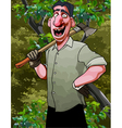 cartoon cheerful man lumberjack with an ax vector image vector image