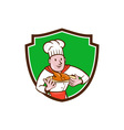 Chef Cook Roast Chicken Dish Crest Cartoon