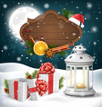 christmas lantern with gift boxes wooden frame vector image