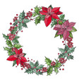 christmas wreath with berries and flowers vector image