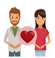 colorful poster half body couple bearded man and vector image vector image