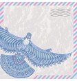 Decorative flying dove on the card stylized vector image