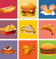 Different kind of food and dessert vector image vector image