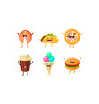 funny fast food characters set taco pizza vector image