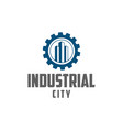 gear and building industrial city vector image