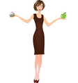 girl holding apple in one hand and cake in another vector image vector image