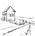 hand drawn of a fields and house vector image vector image