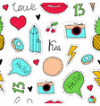 hand-drawn seamless pattern in pop art style vector image