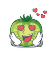in love green tomato slices in cartoon shape vector image vector image