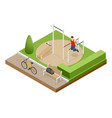 isometric sportsman making workout push-ups and vector image