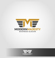 letter m - modern majesty logo template vector image