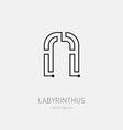 Letter N Labyrinth logo template Line art rebus vector image vector image
