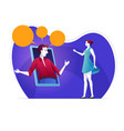 man and woman is communicating through video chat vector image vector image
