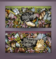 massage hand drawn doodle banners set cartoon vector image vector image