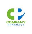 modern natural pharmacy logo vector image vector image