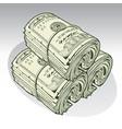 money roll dollars green vector image