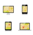 Navigation background with monitor laptop tablet vector image
