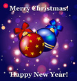New Year greeting card Christmas Ball with bow and vector image