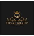 nh letter initial luxurious brand logo template vector image vector image