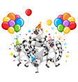 raccoon group in party theme cartoon character on vector image vector image