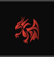 red dragon on a black background vector image