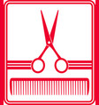red hairdresser icon vector image vector image